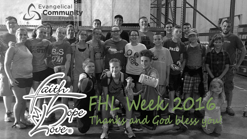 FHL Week 2016:  Youth Group Helps Out At FHL Warehouse