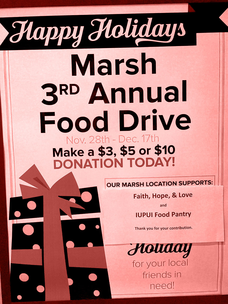 Marsh 2016 Christmas Food Drive For FHL