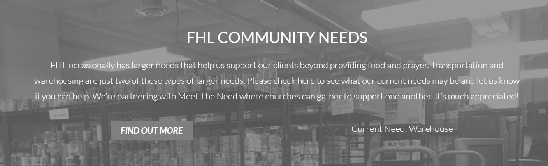 FHL Community Needs : Warehouse