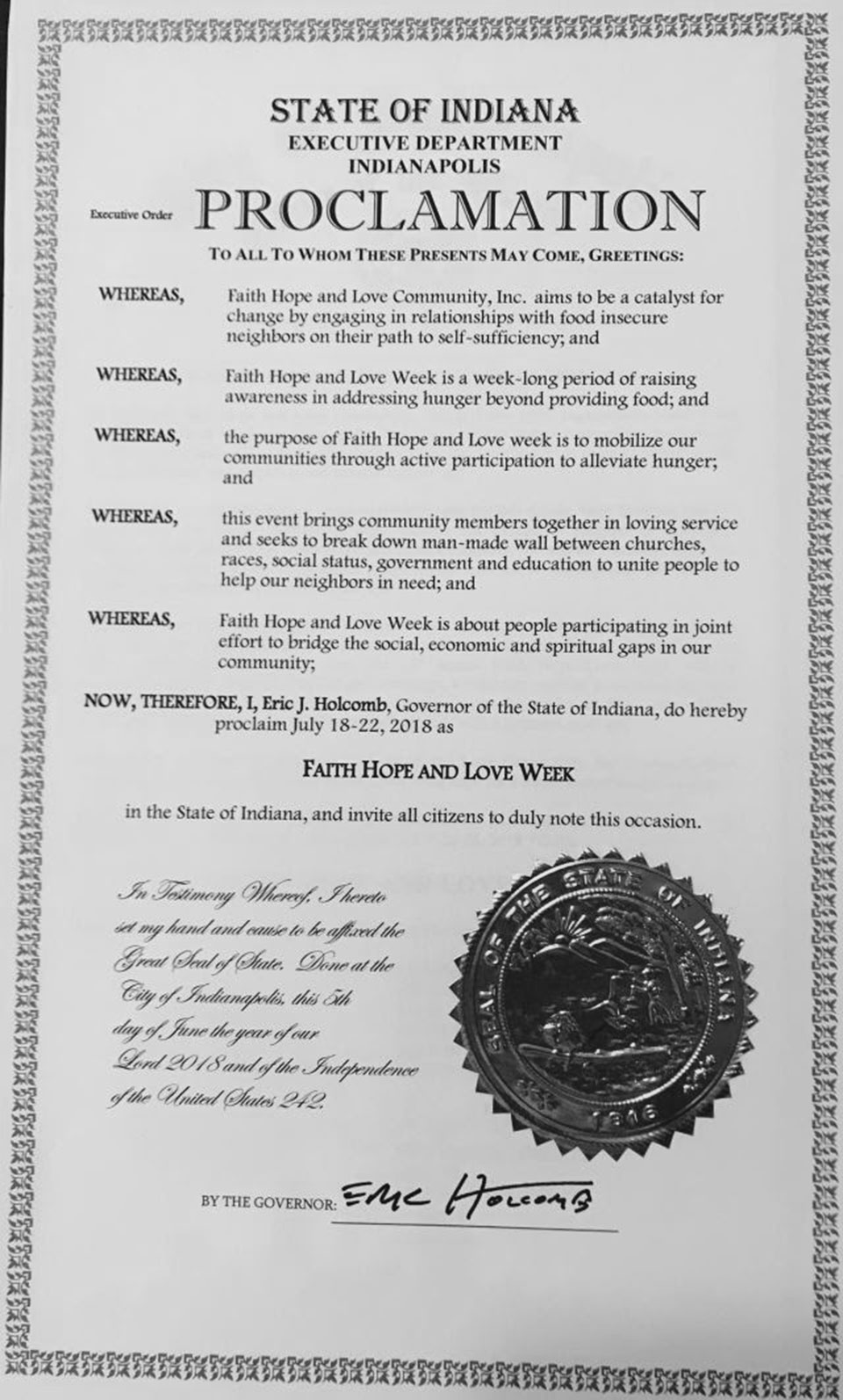 The Governor proclaims FHL Week in state of Indiana