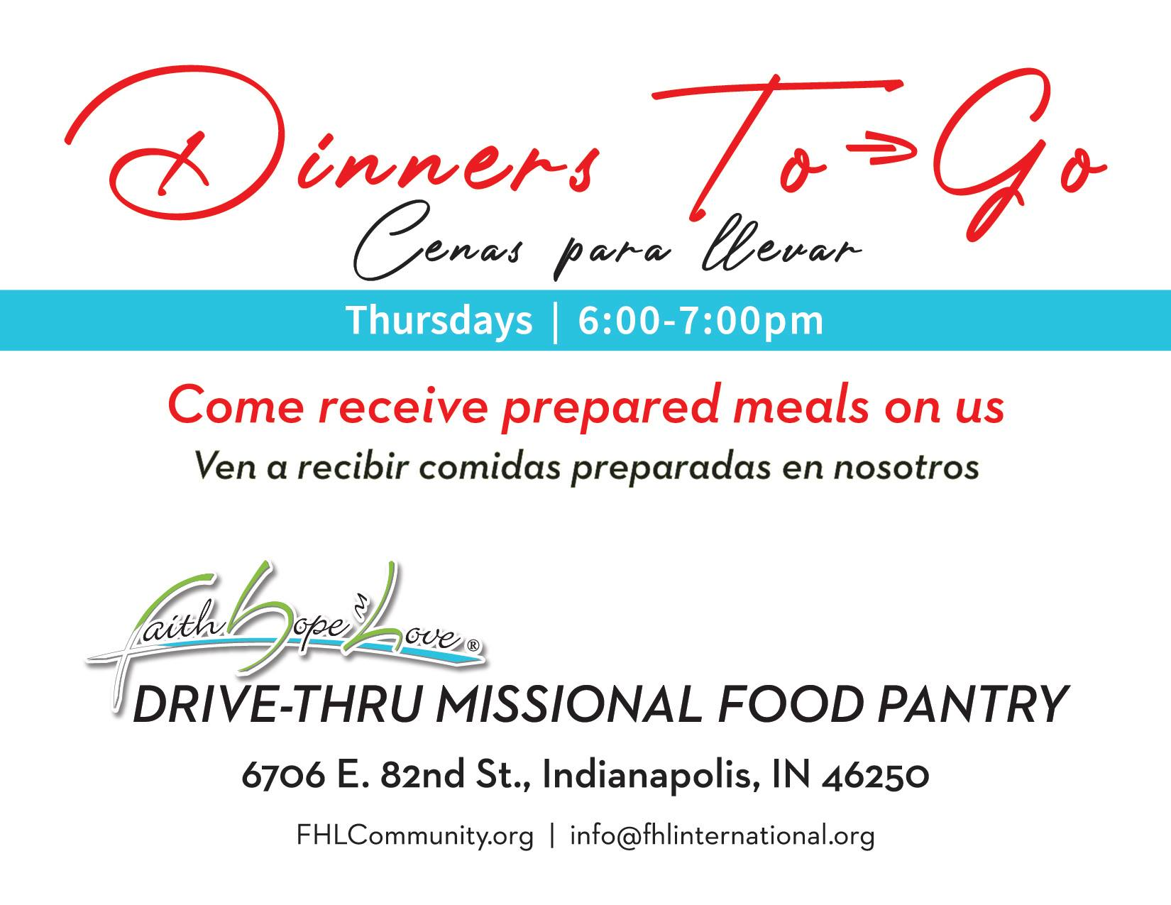 FHL Drive Thru Missional Dinner and Prayer To Go!